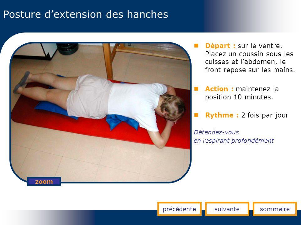 Posture dextension des hanches précédentesuivantesommaire zoom Départ : sur le ventre. Placez un coussin sous les cuisses et labdomen, le front repose