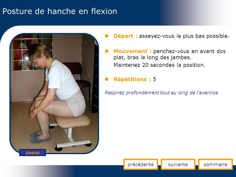 Posture de hanche en flexion précédentesuivantesommaire zoom Départ : asseyez-vous le plus bas possible. Mouvement : penchez-vous en avant dos plat, b