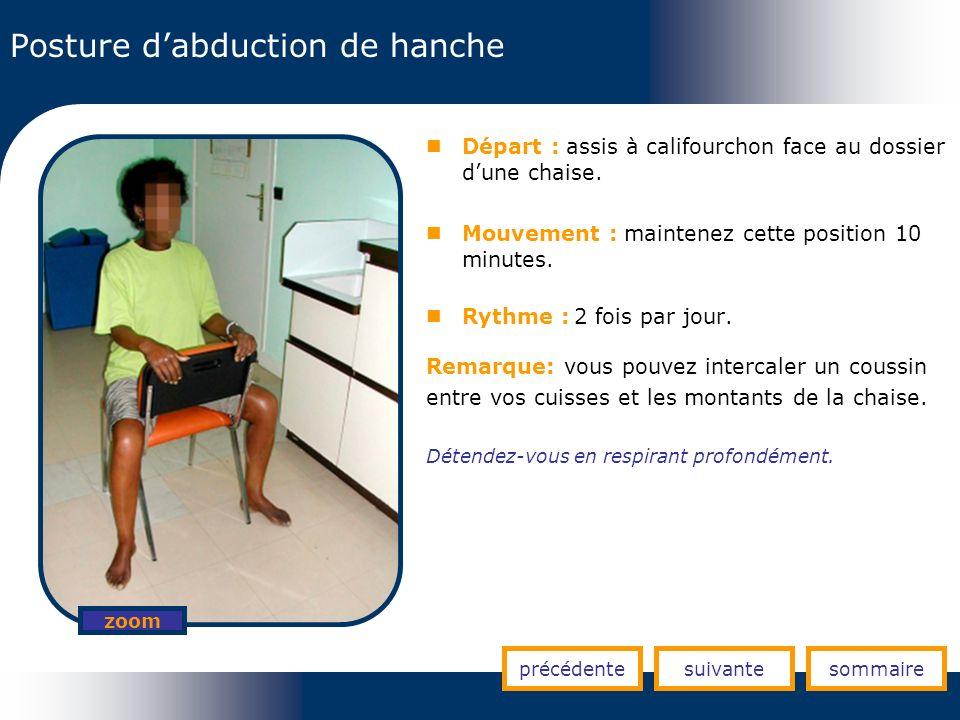 Posture dabduction de hanche précédentesuivantesommaire zoom Départ : assis à califourchon face au dossier dune chaise. Mouvement : maintenez cette po