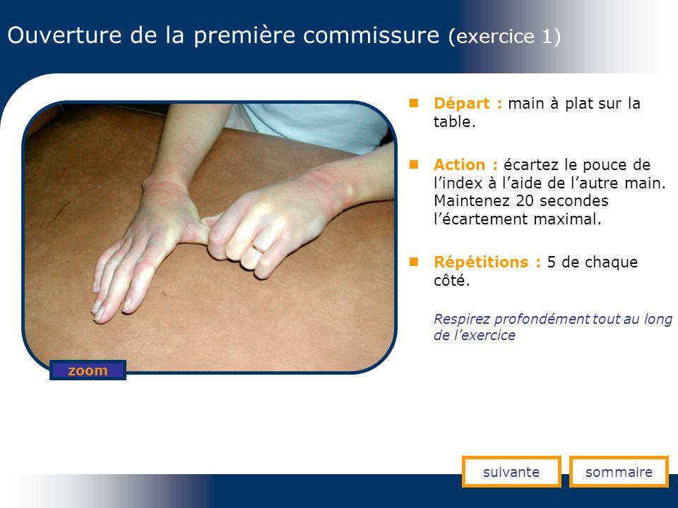 Ouverture de la première commissure (exercice 1) Départ : main à plat sur la table. Action : écartez le pouce de lindex à laide de lautre main. Mainte