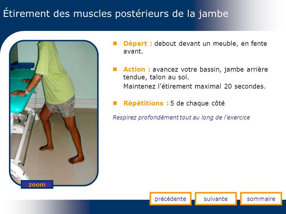 Étirement des muscles postérieurs de la jambe précédentesuivantesommaire zoom Départ : debout devant un meuble, en fente avant. Action : avancez votre