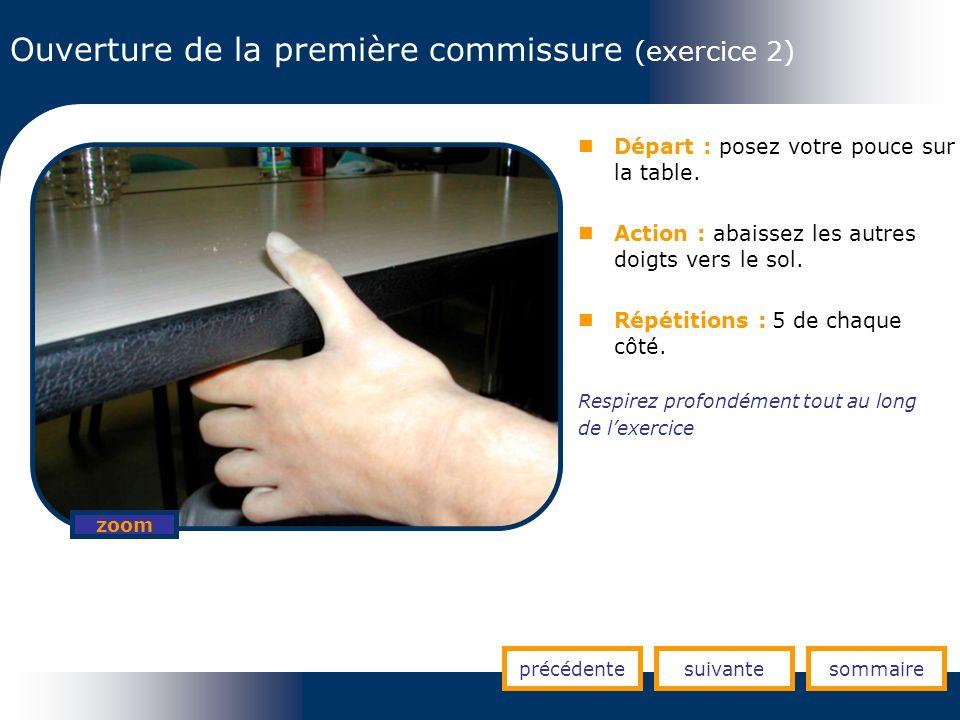 Ouverture de la première commissure (exercice 2) Départ : posez votre pouce sur la table. Action : abaissez les autres doigts vers le sol. Répétitions