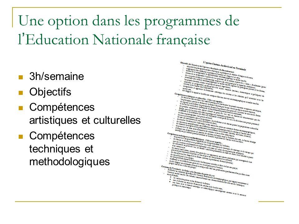 Une option dans les programmes de l Education Nationale française 3h/semaine Objectifs Compétences artistiques et culturelles Compétences techniques et methodologiques
