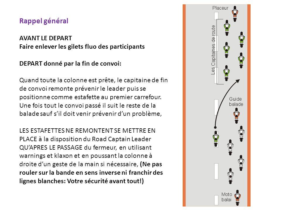Rappel général AVANT LE DEPART Faire enlever les gilets fluo des participants DEPART donné par la fin de convoi: Quand toute la colonne est prête, le