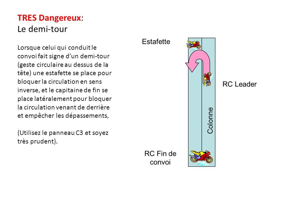 TRES Dangereux: Le demi-tour Lorsque celui qui conduit le convoi fait signe dun demi-tour (geste circulaire au dessus de la tête) une estafette se pla