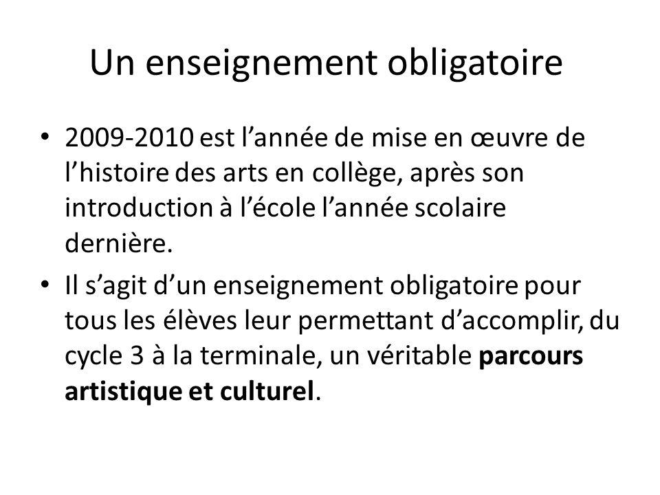 Un enseignement obligatoire 2009-2010 est lannée de mise en œuvre de lhistoire des arts en collège, après son introduction à lécole lannée scolaire dernière.