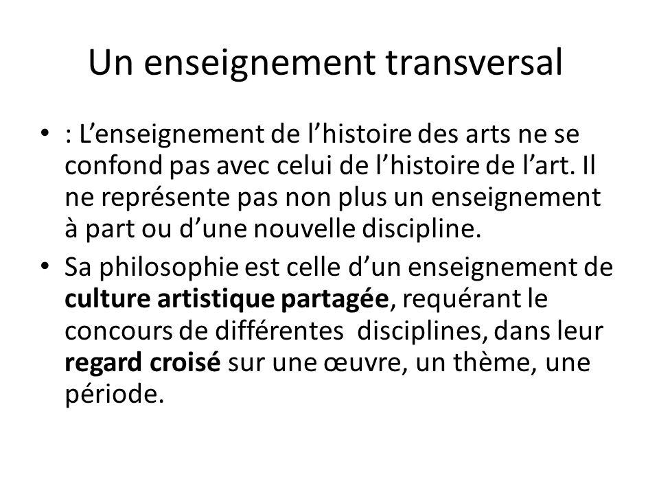 Un enseignement « collectif » ces principes impliquent « des situations de rencontre sensibles et réfléchies avec des œuvres relevant de différents domaines artistiques, de différentes époques et civilisations » dans le temps scolaire, au sein des écoles et des établissements.