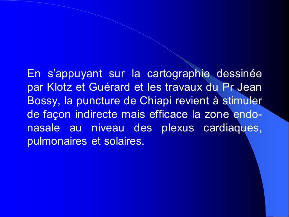 En sappuyant sur la cartographie dessinée par Klotz et Guérard et les travaux du Pr Jean Bossy, la puncture de Chiapi revient à stimuler de façon indirecte mais efficace la zone endo- nasale au niveau des plexus cardiaques, pulmonaires et solaires.