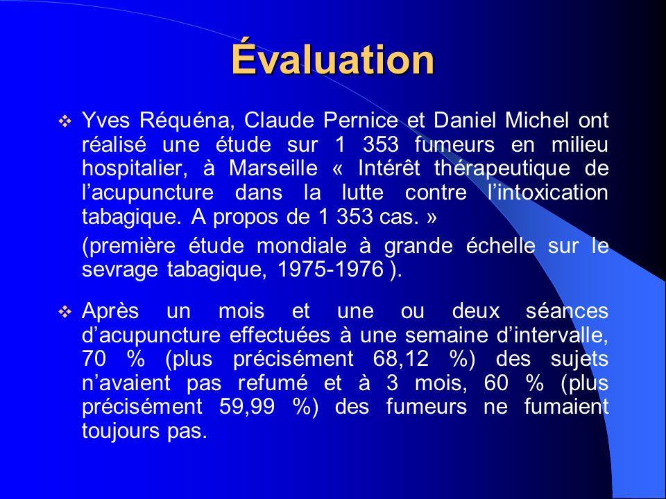 Évaluation Yves Réquéna, Claude Pernice et Daniel Michel ont réalisé une étude sur 1 353 fumeurs en milieu hospitalier, à Marseille « Intérêt thérapeutique de lacupuncture dans la lutte contre lintoxication tabagique.
