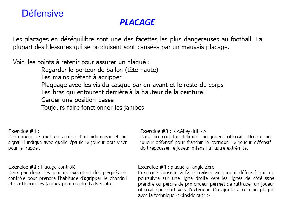 PLACAGE Les placages en déséquilibre sont une des facettes les plus dangereuses au football. La plupart des blessures qui se produisent sont causées p