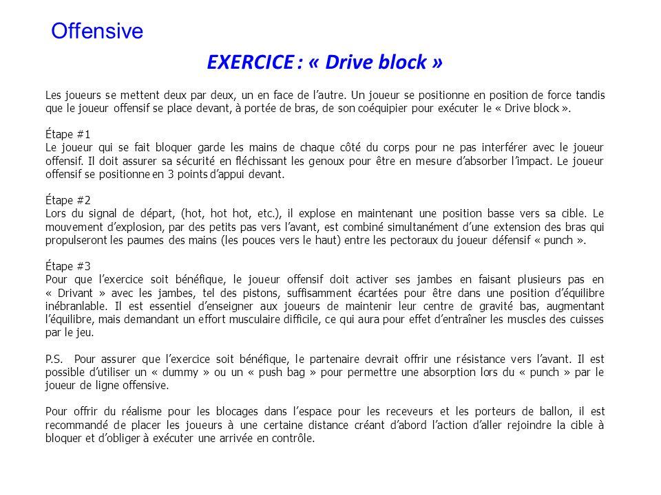 EXERCICE : « Drive block » Les joueurs se mettent deux par deux, un en face de lautre. Un joueur se positionne en position de force tandis que le joue