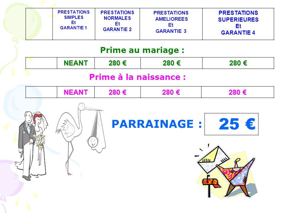 25 NEANT 280 280 PRESTATIONS SIMPLES Et GARANTIE 1 PRESTATIONS NORMALES Et GARANTIE 2 PRESTATIONS AMELIOREES Et GARANTIE 3 PRESTATIONS SUPERIEURES Et GARANTIE 4 NEANT 280 280 Prime au mariage : Prime à la naissance : PARRAINAGE :