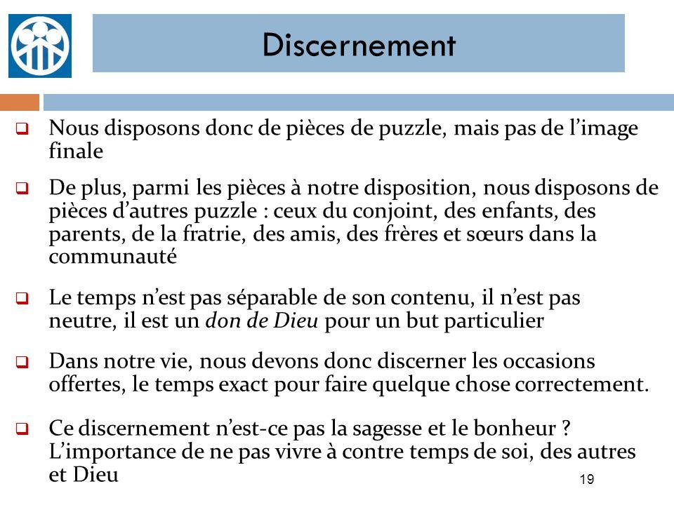 Discernement 19 Nous disposons donc de pièces de puzzle, mais pas de limage finale De plus, parmi les pièces à notre disposition, nous disposons de pi