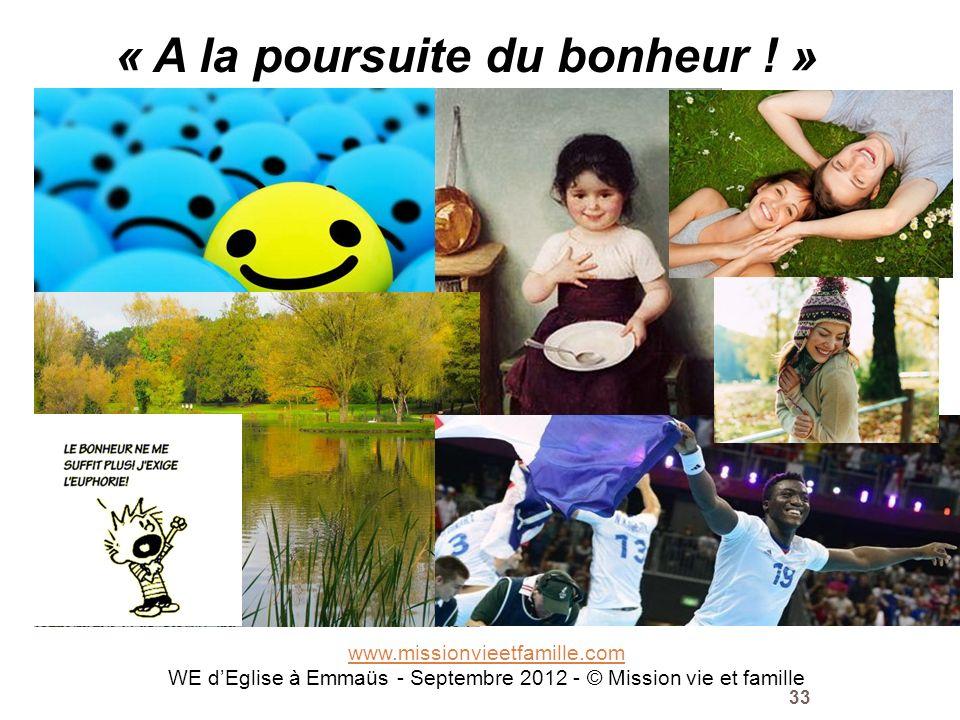 www.missionvieetfamille.com WE dEglise à Emmaüs - Septembre 2012 - © Mission vie et famille 33 « A la poursuite du bonheur ! » mvf
