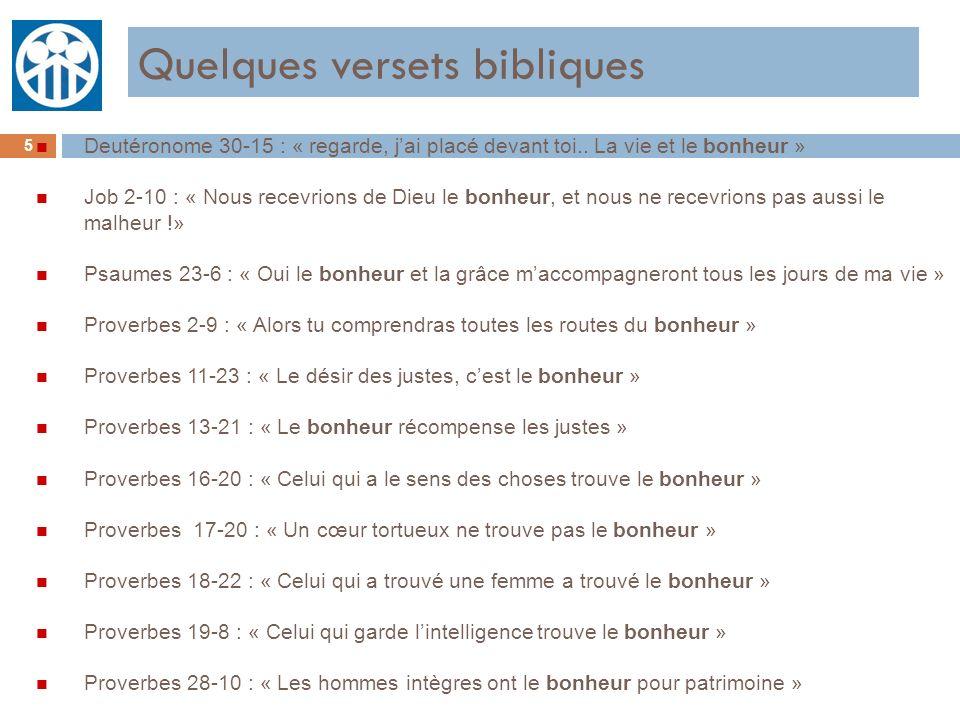 Quelques versets bibliques 5 n Deutéronome 30-15 : « regarde, jai placé devant toi.. La vie et le bonheur » n Job 2-10 : « Nous recevrions de Dieu le