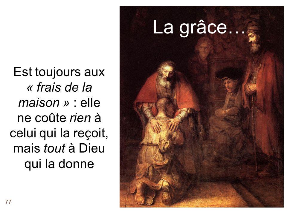 77 La grâce… Est toujours aux « frais de la maison » : elle ne coûte rien à celui qui la reçoit, mais tout à Dieu qui la donne
