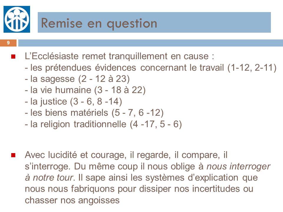 Remise en question 9 n LEcclésiaste remet tranquillement en cause : - les prétendues évidences concernant le travail (1-12, 2-11) - la sagesse (2 - 12
