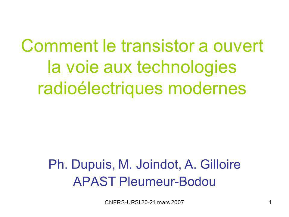 CNFRS-URSI 20-21 mars 20072 Introduction Linvention du transistor quarante ans après celle de la triode Une invention des Bell Labs en déc 47 Impact sur la radio -dès 1955 sur la radio grand public -les CI imposent le numérique (années 70) -impact plus tardif sur lémission et la réception radio au dessus de 5 GHz