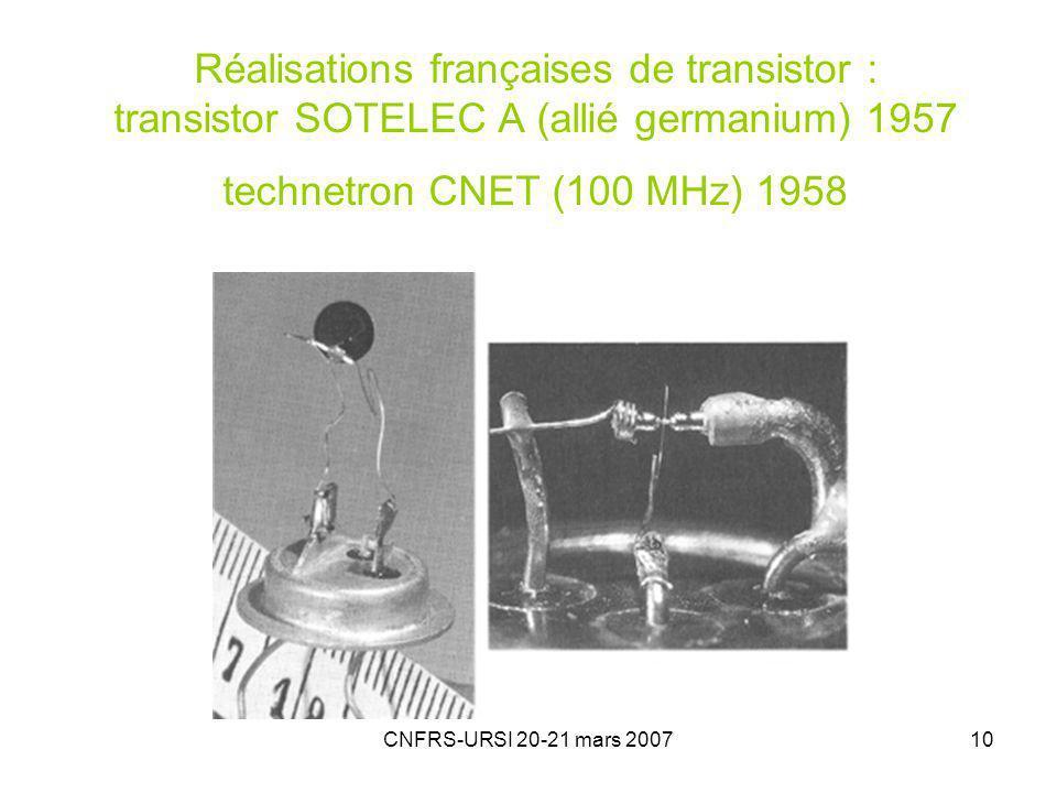 CNFRS-URSI 20-21 mars 200710 Réalisations françaises de transistor : transistor SOTELEC A (allié germanium) 1957 technetron CNET (100 MHz) 1958