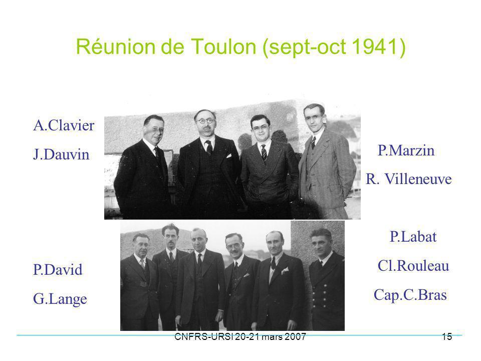 CNFRS-URSI 20-21 mars 200715 Réunion de Toulon (sept-oct 1941) A.Clavier J.Dauvin P.David G.Lange P.Marzin R.