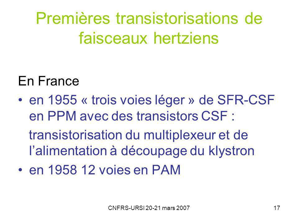 CNFRS-URSI 20-21 mars 200717 Premières transistorisations de faisceaux hertziens En France en 1955 « trois voies léger » de SFR-CSF en PPM avec des transistors CSF : transistorisation du multiplexeur et de lalimentation à découpage du klystron en 1958 12 voies en PAM