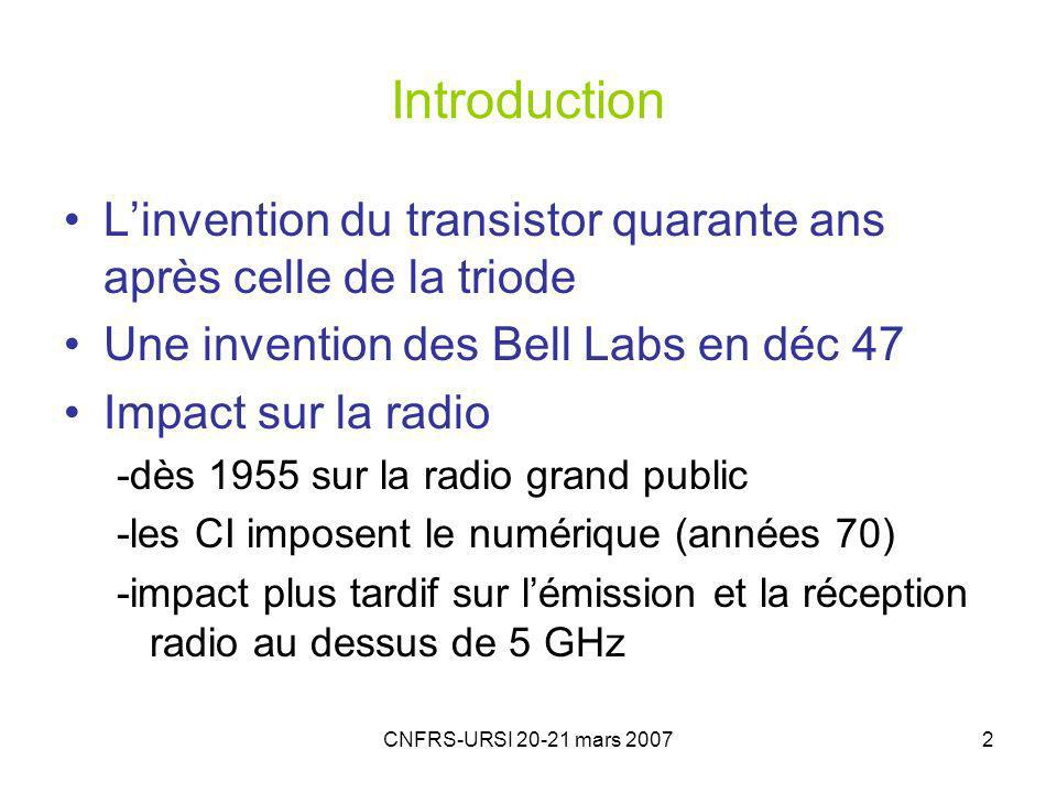 CNFRS-URSI 20-21 mars 20072 Introduction Linvention du transistor quarante ans après celle de la triode Une invention des Bell Labs en déc 47 Impact s