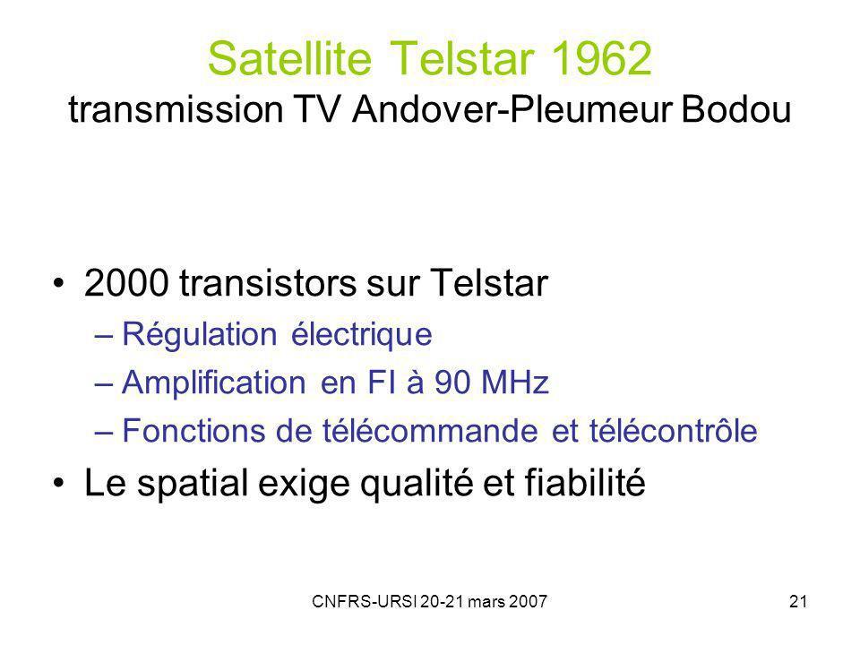 CNFRS-URSI 20-21 mars 200721 Satellite Telstar 1962 transmission TV Andover-Pleumeur Bodou 2000 transistors sur Telstar –Régulation électrique –Amplification en FI à 90 MHz –Fonctions de télécommande et télécontrôle Le spatial exige qualité et fiabilité