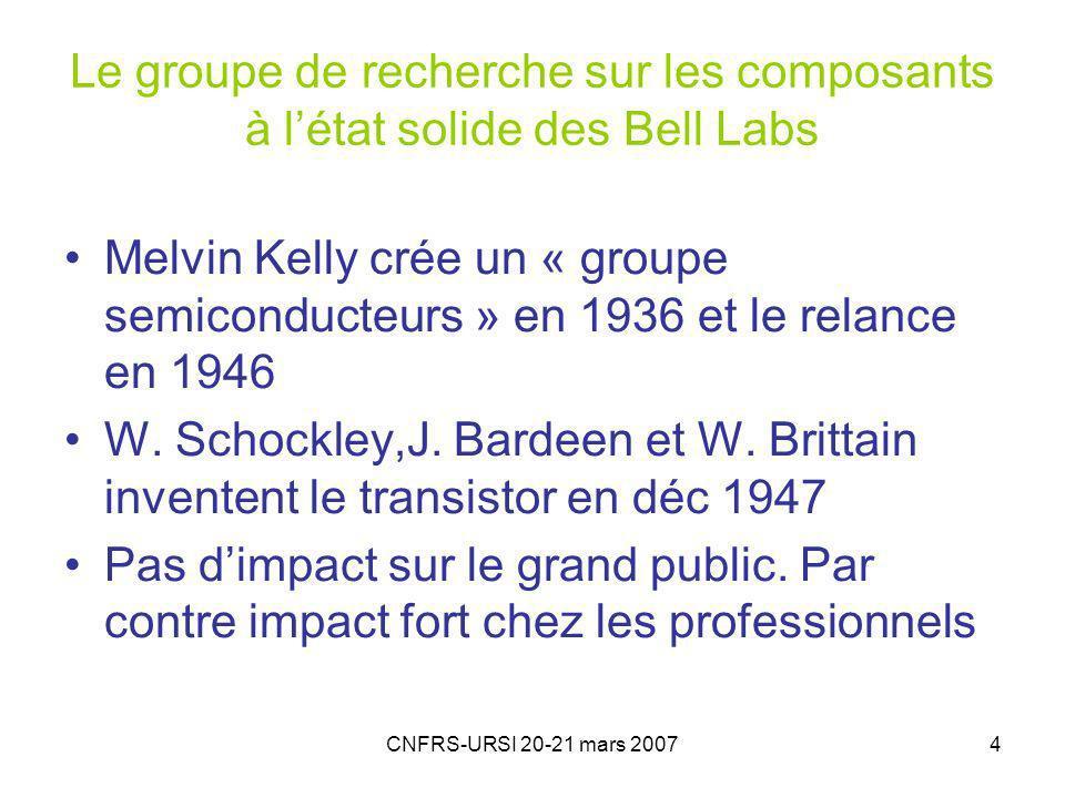 CNFRS-URSI 20-21 mars 20074 Le groupe de recherche sur les composants à létat solide des Bell Labs Melvin Kelly crée un « groupe semiconducteurs » en 1936 et le relance en 1946 W.