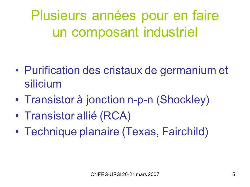 CNFRS-URSI 20-21 mars 20075 Plusieurs années pour en faire un composant industriel Purification des cristaux de germanium et silicium Transistor à jonction n-p-n (Shockley) Transistor allié (RCA) Technique planaire (Texas, Fairchild)