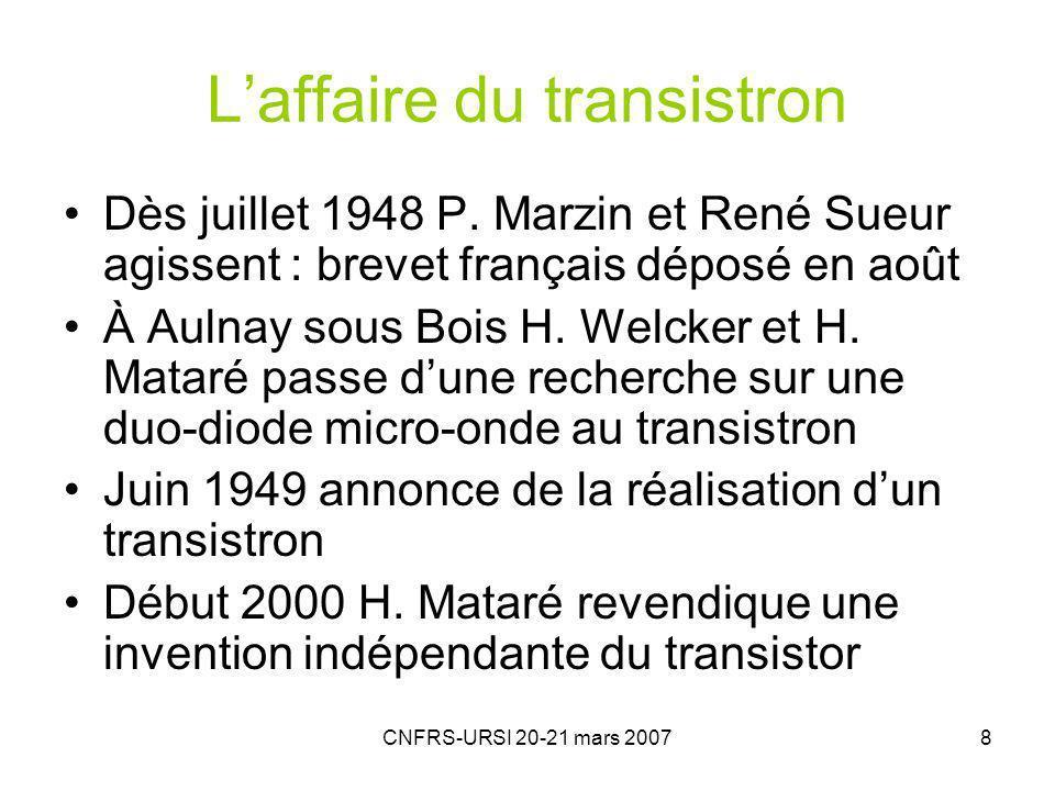 CNFRS-URSI 20-21 mars 20079 H. Mataré et H. Welcker Transistron