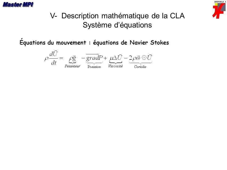 V- Description mathématique de la CLA Système déquations Équations du mouvement : équations de Navier Stokes