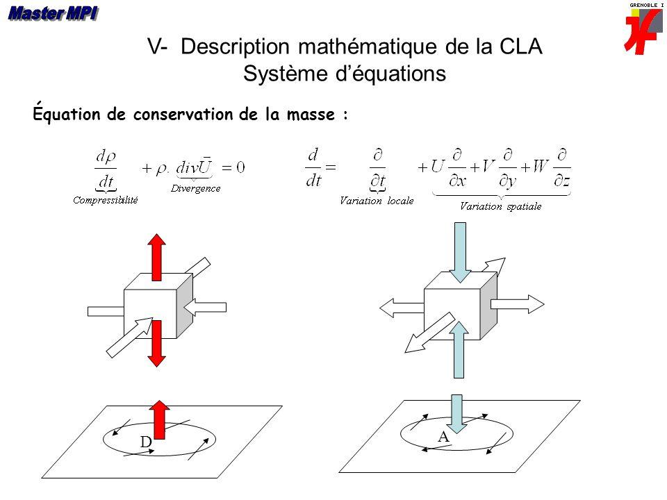 V- Description mathématique de la CLA Système déquations Équation de conservation de la masse : D A