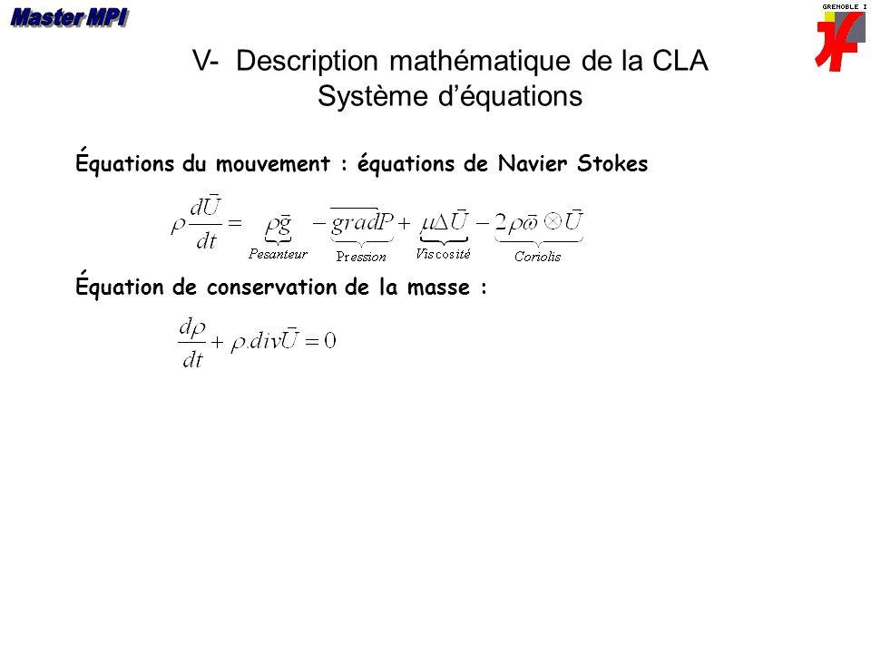 V- Description mathématique de la CLA Système déquations Équation de conservation de la masse : Équations du mouvement : équations de Navier Stokes