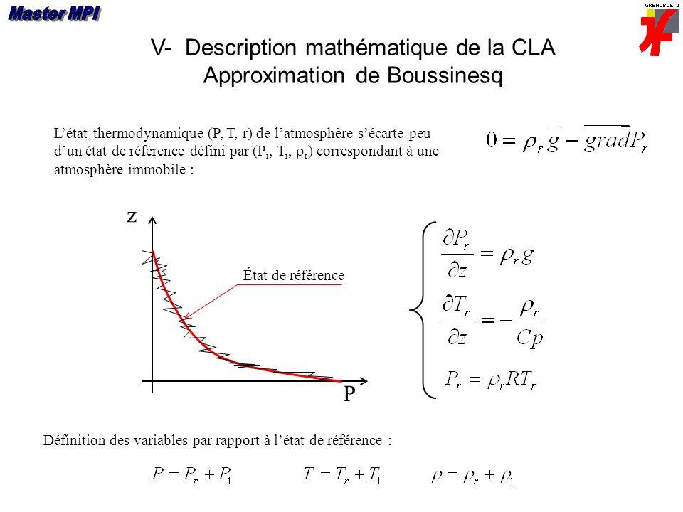 V- Description mathématique de la CLA Approximation de Boussinesq z Létat thermodynamique (P, T, r) de latmosphère sécarte peu dun état de référence défini par (P r, T r, r ) correspondant à une atmosphère immobile : P État de référence Définition des variables par rapport à létat de référence :