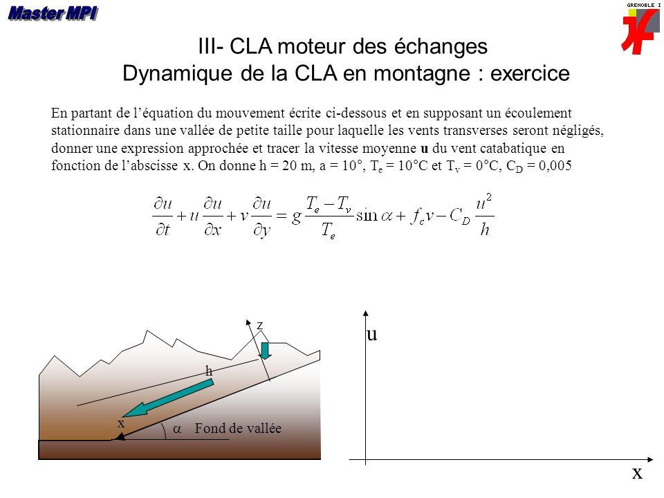 III- CLA moteur des échanges Dynamique de la CLA en montagne : exercice Fond de vallée x z h En partant de léquation du mouvement écrite ci-dessous et en supposant un écoulement stationnaire dans une vallée de petite taille pour laquelle les vents transverses seront négligés, donner une expression approchée et tracer la vitesse moyenne u du vent catabatique en fonction de labscisse x.