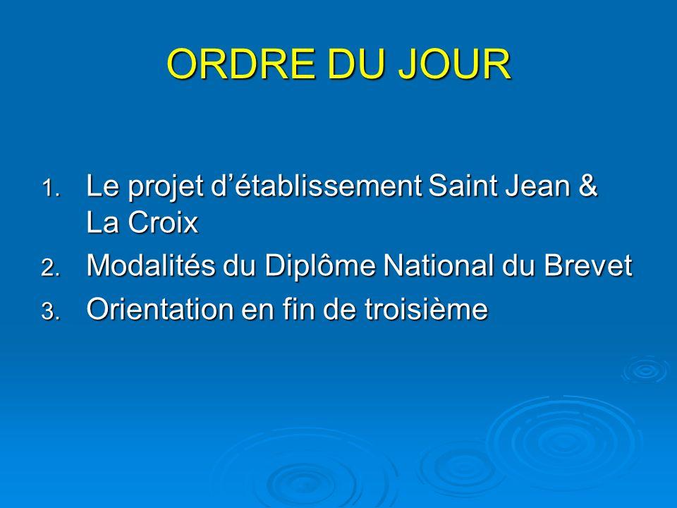 ORDRE DU JOUR 1. Le projet détablissement Saint Jean & La Croix 2.