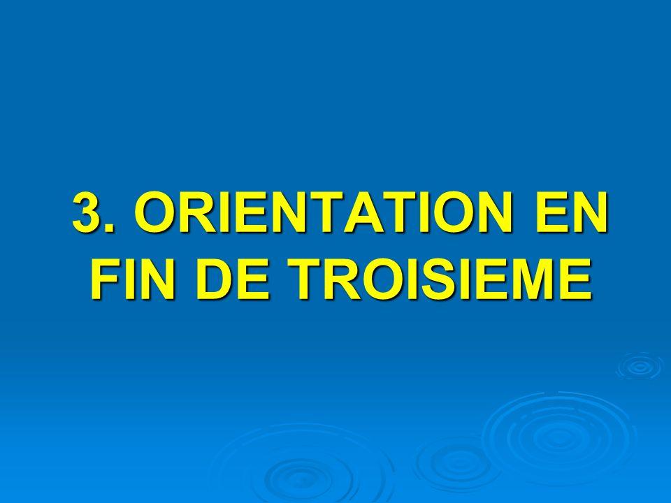 3. ORIENTATION EN FIN DE TROISIEME