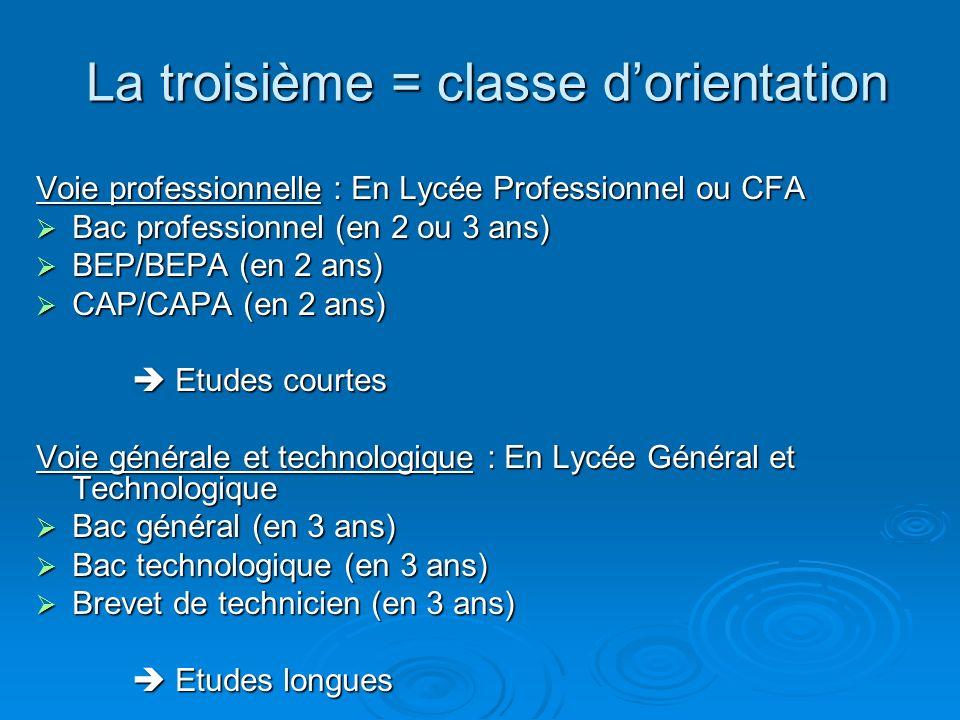 La troisième = classe dorientation Voie professionnelle : En Lycée Professionnel ou CFA Bac professionnel (en 2 ou 3 ans) Bac professionnel (en 2 ou 3 ans) BEP/BEPA (en 2 ans) BEP/BEPA (en 2 ans) CAP/CAPA (en 2 ans) CAP/CAPA (en 2 ans) Etudes courtes Etudes courtes Voie générale et technologique : En Lycée Général et Technologique Bac général (en 3 ans) Bac général (en 3 ans) Bac technologique (en 3 ans) Bac technologique (en 3 ans) Brevet de technicien (en 3 ans) Brevet de technicien (en 3 ans) Etudes longues Etudes longues