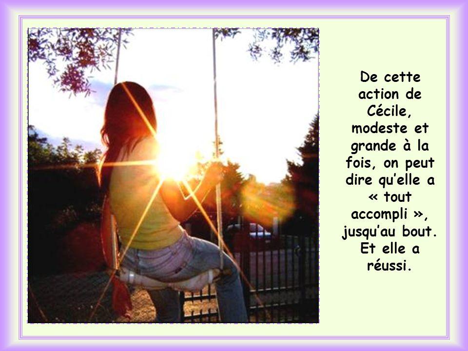 Le lendemain, Cécile retrouve Anne à lécole et la réconforte par son amour. Mais un fait nouveau se produit : à la sortie, une voiture vient prendre A