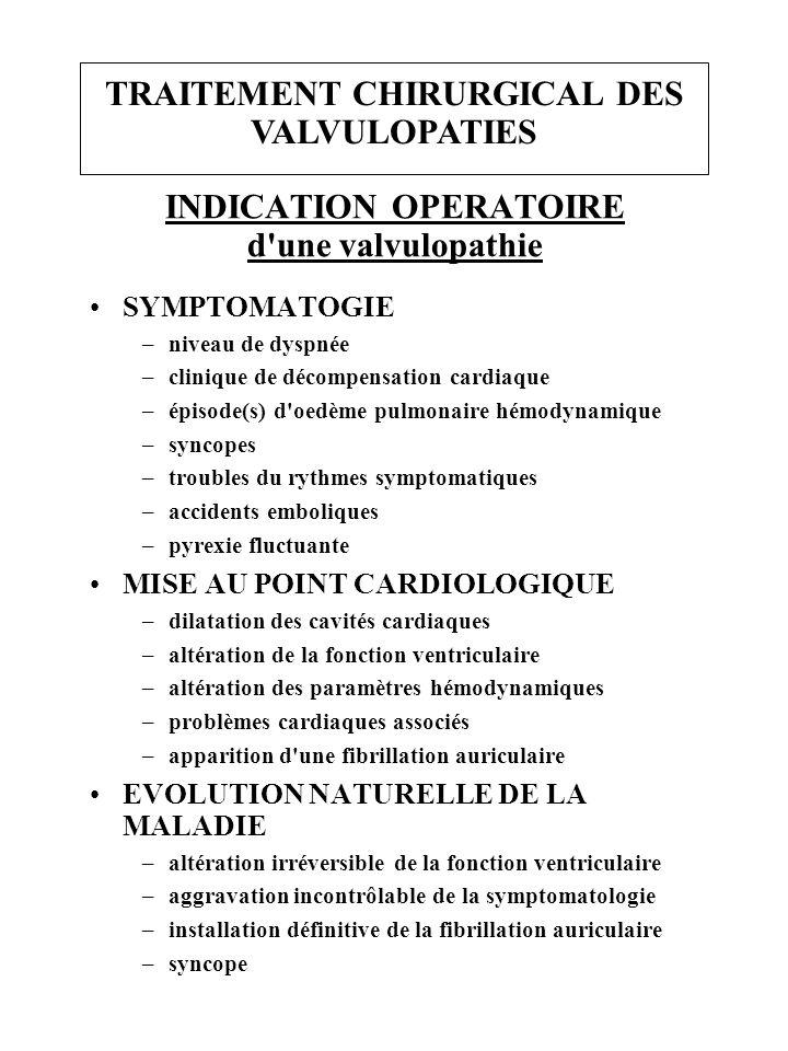 TRAITEMENT CHIRURGICAL DES VALVULOPATIES INDICATION OPERATOIRE d une valvulopathie SYMPTOMATOGIE –niveau de dyspnée –clinique de décompensation cardiaque –épisode(s) d oedème pulmonaire hémodynamique –syncopes –troubles du rythmes symptomatiques –accidents emboliques –pyrexie fluctuante MISE AU POINT CARDIOLOGIQUE –dilatation des cavités cardiaques –altération de la fonction ventriculaire –altération des paramètres hémodynamiques –problèmes cardiaques associés –apparition d une fibrillation auriculaire EVOLUTION NATURELLE DE LA MALADIE –altération irréversible de la fonction ventriculaire –aggravation incontrôlable de la symptomatologie –installation définitive de la fibrillation auriculaire –syncope