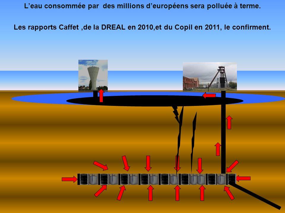 Leau consommée par des millions deuropéens sera polluée à terme. Les rapports Caffet,de la DREAL en 2010,et du Copil en 2011, le confirment. Nappe phr