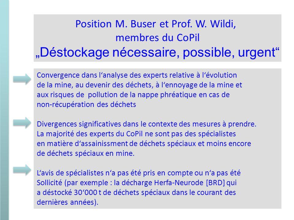 Position M. Buser et Prof. W. Wildi, membres du CoPil Déstockage nécessaire, possible, urgent Convergence dans lanalyse des experts relative à lévolut