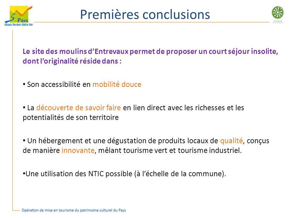 Premières conclusions Le site des moulins dEntrevaux permet de proposer un court séjour insolite, dont loriginalité réside dans : Son accessibilité en