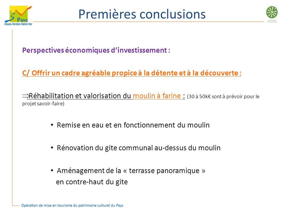 Premières conclusions Perspectives économiques dinvestissement : C/ Offrir un cadre agréable propice à la détente et à la découverte : Réhabilitation