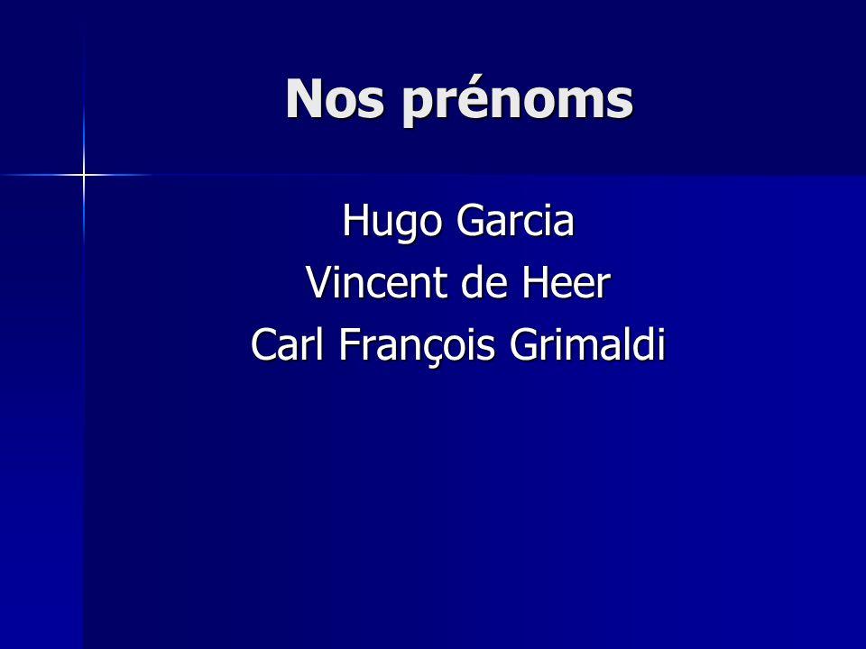 Nos prénoms Hugo Garcia Vincent de Heer Carl François Grimaldi