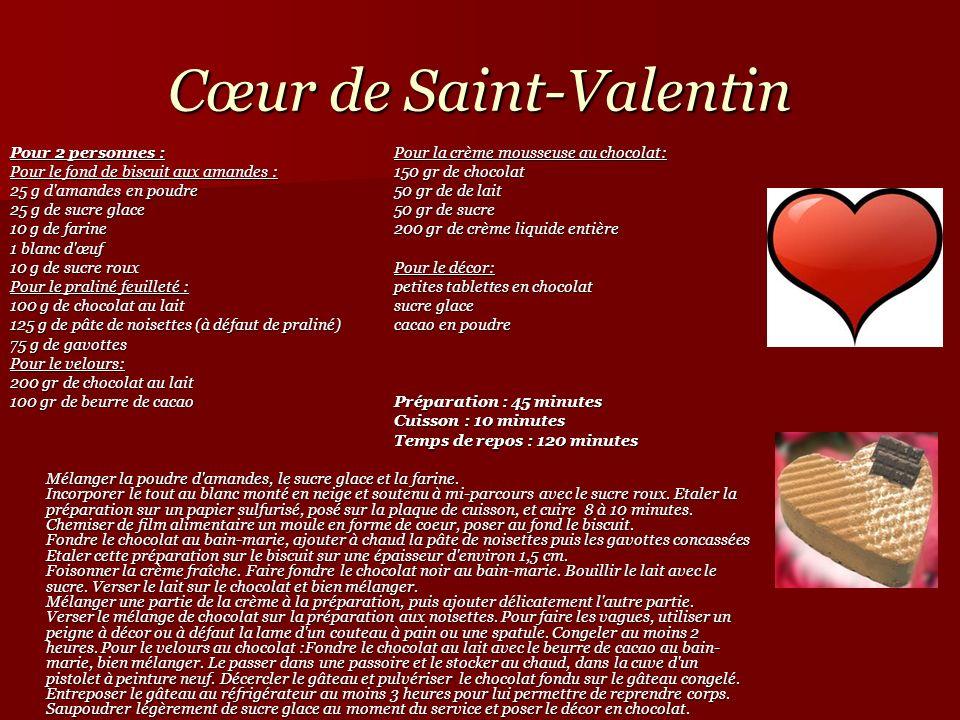 Cœur de Saint-Valentin Pour 2 personnes :Pour la crème mousseuse au chocolat: Pour le fond de biscuit aux amandes :150 gr de chocolat 25 g d'amandes e