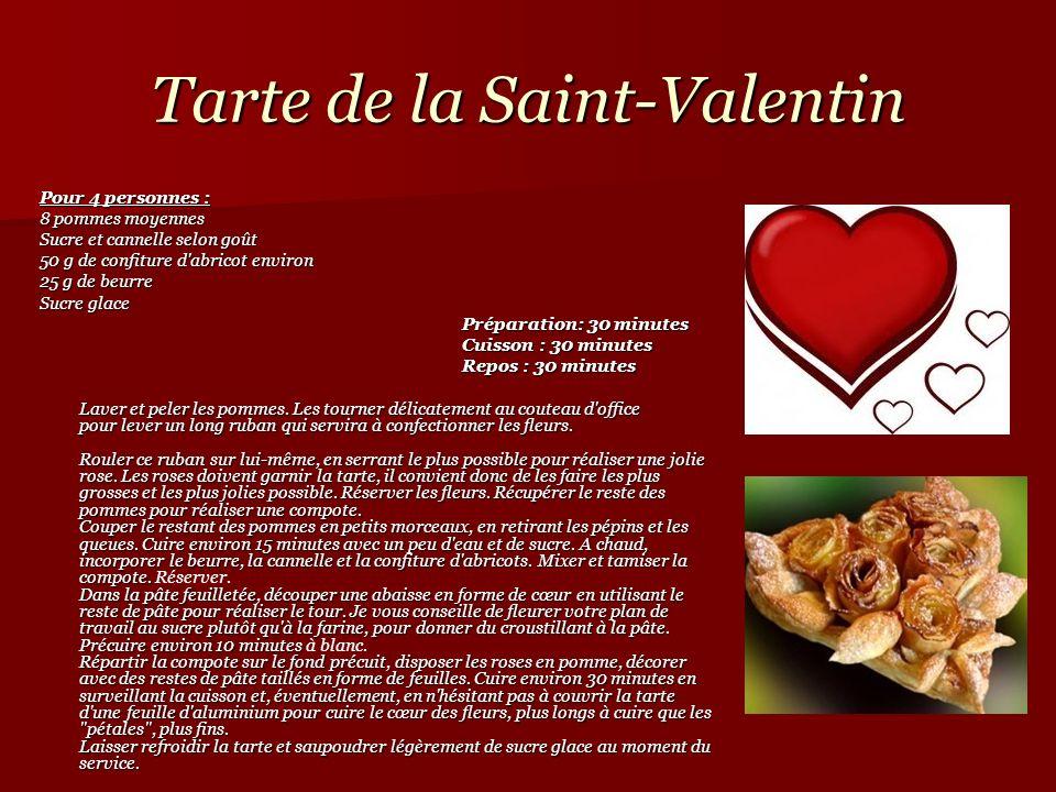 Tarte de la Saint-Valentin Pour 4 personnes : 8 pommes moyennes Sucre et cannelle selon goût 50 g de confiture d'abricot environ 25 g de beurre Sucre