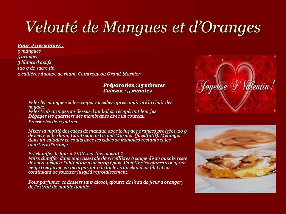 Velouté de Mangues et dOranges Pour 4 personnes : 3 mangues5 oranges 3 blancs d'oeufs 120 g de sucre fin 2 cuillères à soupe de rhum, Cointreau ou Gra