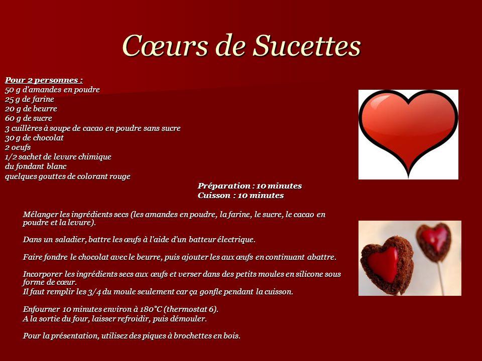 Cœurs de Sucettes Pour 2 personnes : 50 g d'amandes en poudre 25 g de farine 20 g de beurre 60 g de sucre 3 cuillères à soupe de cacao en poudre sans
