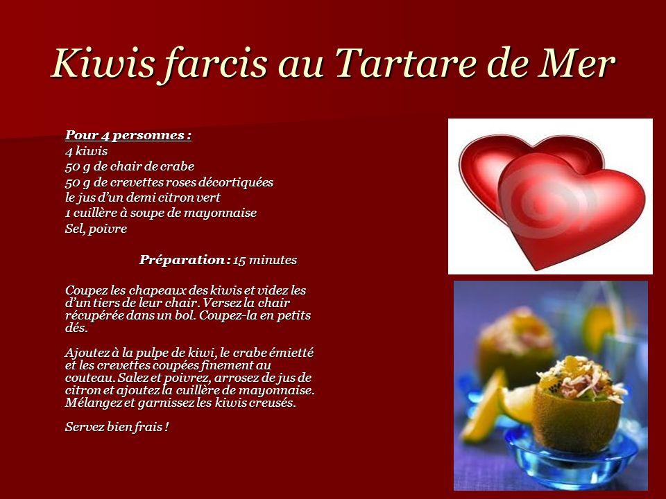 Kiwis farcis au Tartare de Mer Pour 4 personnes : 4 kiwis 50 g de chair de crabe 50 g de crevettes roses décortiquées le jus dun demi citron vert 1 cu